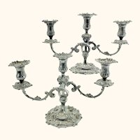 Fine Pair Tiffany & Co. Makers Silverplate 3 Light Candelabras