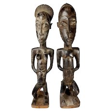 Antique Pair African Hand Carved Male Female Fertility Figures