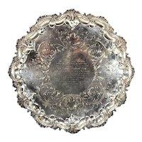 Antique 1854 English Sterling Silver Presentation Salver WILLIAM KER REID London