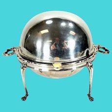 Rare Round Form English Sheffield Silverplate Revolving Dome Food Warmer