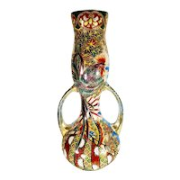 Huge Antique Japanese Satsuma Art Nouveau Vase with Moriage Double Handle