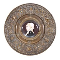 Antique Plaque Hand Painted Porcelain Plate Framed in Brass Repousse'