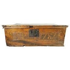 Early Antique 1787 Bible Box Hand Carved Walnut Oak Butternut