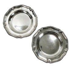 Pair of Antique 1829 English Sterling Silver Plates William BATEMAN Sir William Wrixon Becher