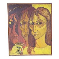 Vintage Oil on Canvas Painting Creepy Surrealistic Woman
