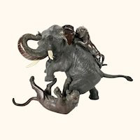 Large Signed Antique Japanese Bronze Sculpture Brave Elephant Fighting Tigers