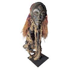 Antique African CHOKWE TSHOKWE PWO Angola/Congo Mask with Decoration