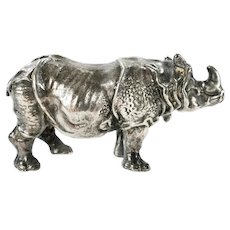 Sterling Silver Miniature Rhino Sculpture