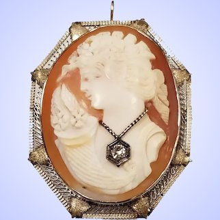 Antique Large Cameo Brooch Pendant In 14k Gold With Large Diamond