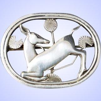 Antique Georg Jensen Sterling Silver Art Nouveau Deco Brooch Pin Young Deer