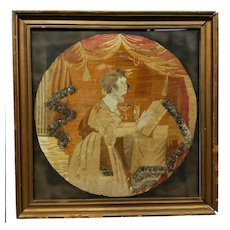 Antique c. 1800 Needlepoint Embroidery HILAH RUSSELL BELDEN New London CT b.1779