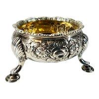 Antique 1746 English Sterling Silver Repousse' Master Salt Dish - London