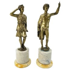 Fine Pair of Antique 16th or 17th Century Renaissance Bronze Sculptures of a Man & Woman