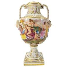 """Antique 19th c. Capodimonte Vase """"N"""" Naples Porcelain Wild Bacchanalian Party"""