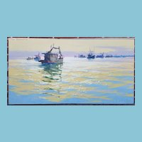 "Original CARL G. EVERS Marine Oil Painting on Canvas ""Shrimp Boats"""