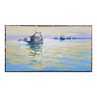 "Original CARL G. EVERS Marine Oil Painting on Canvas ""Shrimp Boats"""