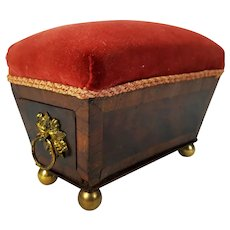 Antique c.1800 Regency Pin Cushion Sarcophagus Form Georgian Era Mahogany