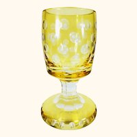 Large Antique Bohemian Czech Footed Goblet Glass Amber Cut to Clear
