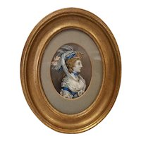 Fine Antique 18th c. Miniature Oil Painting  of Beautiful Woman in Fancy Clothes