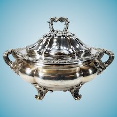 Antique English Sheffield Silverplate Armorial Tureen by MATTHEW BOULTON Whippet Dog Engravings