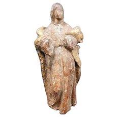 Antique Santos 18th or Earlier Mary Jesus in Veneration Wear