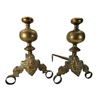 Pair of Dutch Brass Andirons 17th Century or 19th c. with Engraved Faces