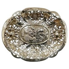 Antique E.F. CALDWELL NYC Sterling Silver Reticulated Repousse' Bowl with Fruit