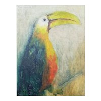 Antique Oil Painting on Canvas of a Tucan Bird