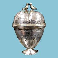Antique Scandinavian Sterling Silver Marriage Wedding Trinket Box With Love Birds