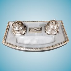 Finest Quality .800 Silver German Marble Desk Set with Inkwells