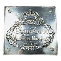 Vintage GEORG JENSEN Silver Plate Jewelers Showcase Plaque New York