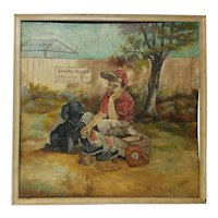 Vintage Original Charming Painting Boy with Dog Not Allowed at Baseball Game