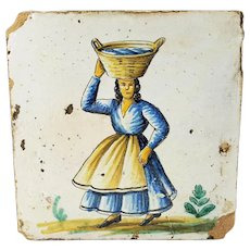 Early Antique Continental Ceramic Pottery Tile Woman Carrying Basket