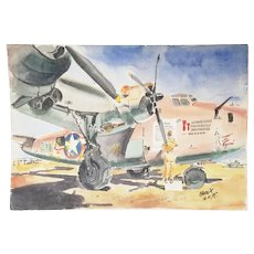 "Vintage WWll Original Art Painting - Ninth Air Force Africa B-24 Liberator ""The Squaw"""