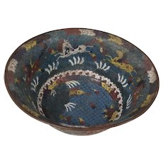 Antique 19th Century Japanese Cloisonne Enamel Bowl in a Chinese Style