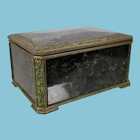 Antique Bronze Mounted Labradorite Stone Casket or Jewelry Box
