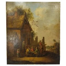 Antique Dutch Old Master Painting 17th/18th Century Village Scene