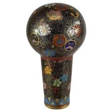 Fine Antique Japanese Gilt Cloisonne Enamel Cane Walking Stick Handle