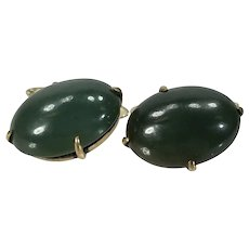 Fine Chinese Nephrite Jade Signed Silver Cufflinks