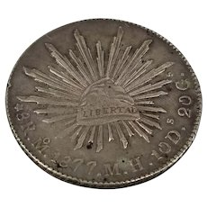 Antique Spanish Colonial Mexican Silver 8 Reales Pieces of 8 Coin