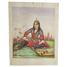 Antique Fine Persian or Turkish Watercolor Miniature Painting Prince or Royal