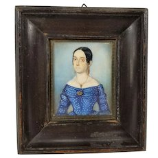 Antique Folk Art Americana Miniature Portrait of a Lady