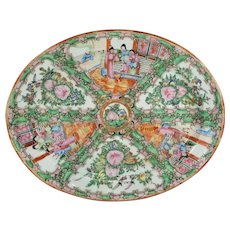 Antique 19th Century Chinese Export Rose Medallion Platter Tray