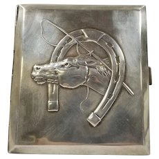 Polish Silver Cigarette Case with Horse and Horseshoe Decoration
