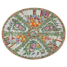 Antique 19th Century Chinese Export Rose Medallion Large Tray