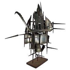 MCM Mid Century Modern Brutalist Metal Sculpture