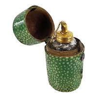 Antique French 18kt Gold Crystal Glass Perfume Bottle and Shagreen Box
