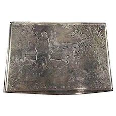 Antique Silver Plate Art Nouveau Engraved Cigarette Box
