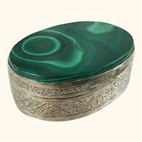 Antique Jewelry Trinket Box with Malachite Stone