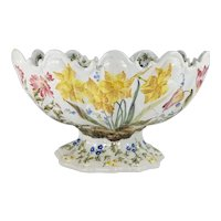 Antique Italian Nove Faience Majolica Monteith Centerpiece Bowl